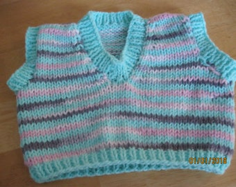 Hand Knit V-Neck Vest size 6 month