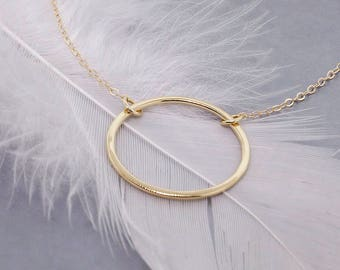 Gold Circle Necklace - Bridesmaid Necklace - Solid Gold Necklace - Eternity Necklace - Infinity Necklace - Gift for Her - Gift for Mom
