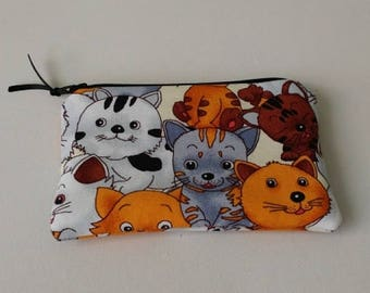 CATS ALL OVER Zippered Padded Coin Pouch
