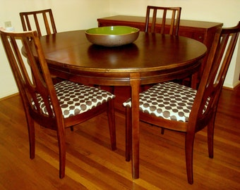 SOLD Vintage Broyhill Brasilia Dining Chairs with Custom Finish Drexel Dining Table with Leaves SOLD