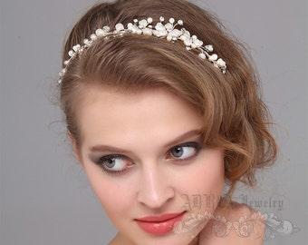 Bridal Headband, Pearl Wedding Headband, Bridal Hair Vine, Tiara, Wedding Hair Accessory, Rhinestone Pearl Headband, Bridal Hair Jewelry