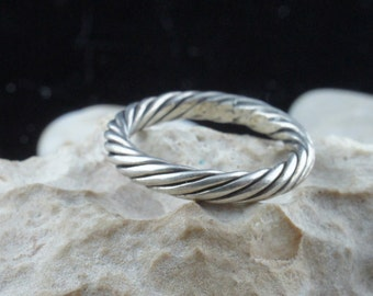 Vintage Sterling Silver Band 925 Ring Size 7 twisted design  Art Deco Jewelry  wedding engagement  st301