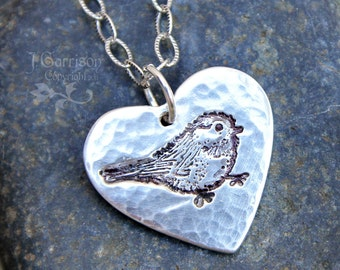 Rustic my little chickadee necklace - handmade fine silver hammered & oxidized heart with bird stamp on a textured sterling silver chain