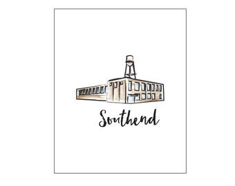 Southend Charlotte, NC - Line Art and Watercolor Print