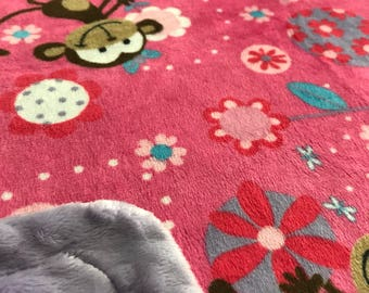 Minky Blanket - Pink and Purple Monkey Print Minky with Lavender Dimple Dot Minky Cuddle Backing - new baby, stroller blanket