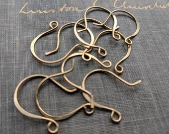 bulk order- raw brass ear wires- brass ear hooks, french wire findings, handmade ear wires, bulk findings, wholesale findings, gold hook
