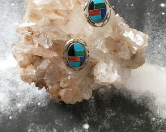 vintage 1970s sterling silver multi stone inlay post earrings