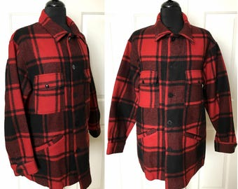 Men's Vintage 1960's PENDLETON Red and Black Buffalo Plaid Wool Button Up Heavy Jacket Long Sleeve Shirt - size Large to Extra Large XL