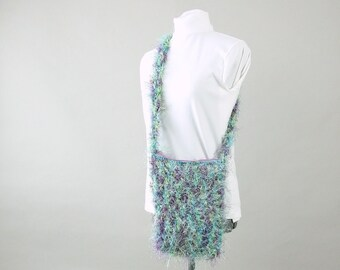 Hand Crocheted Lined Fuzzy Purse with Zipper Closing, Variegated Purple and Green