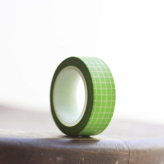 LIME GREEN GRID Washi Tape-  Single Roll 15 mm x 10 m