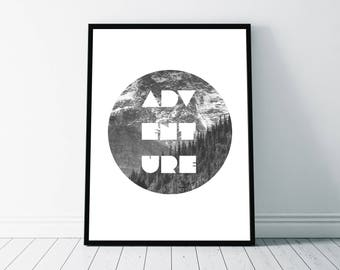 Adventure Circle Print, Travel Typography, Nature Wanderlust, Camping Outdoors Art, Wall Decor, Minimalist Design Black and White