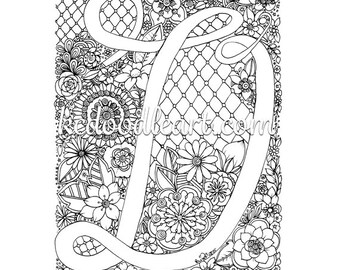 instant digital download - coloring page - letter D with flower designs