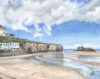 Perranporth plage en aquarelle, Archives de l'art copie de peinture aquarelle originale, mémoire d'été anglais heureux, par David Platt