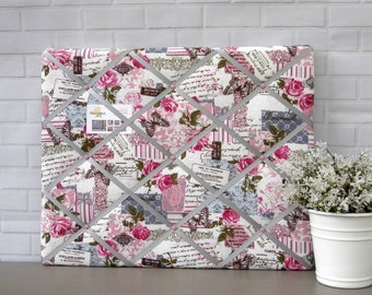 Vintage print noticeboard, fabric memo board, memory board, bulletin board, pink and grey flowers, 40 x 50 cm, handmade