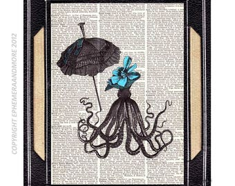 OCTOPUS Girl with umbrella art print wall decor Victorian marine nautical ocean sea children on upcycled vintage dicrionary book page 8x10