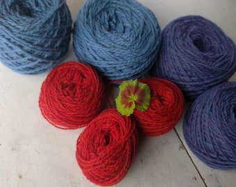 Peace Fleece Yarn balls, bright spring colors, baby blue, purple and salmon, worsted weight wool yarn
