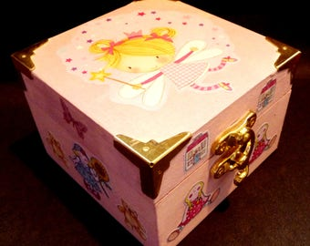 """Pink trinket Box. """"Fairy World"""" with  Fairy, Teddies, Puppy-Dogs, Butterflies Cat, Hobby Horse and Rag Doll - a Fairy Palace in the Sky."""