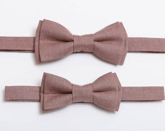 Father and son Bow tie set Dark Rosy Brown Linen bow tie Wedding bow tie Toddler bow tie Boy's bow tie Bow tie for men Ring Bearer outfit