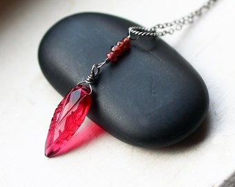 Red Quartz Necklace - Garnet Necklace - Garnet Jewelry - January Birthstone - Leaf Necklace - Sterling Silver Necklace - Red Necklace