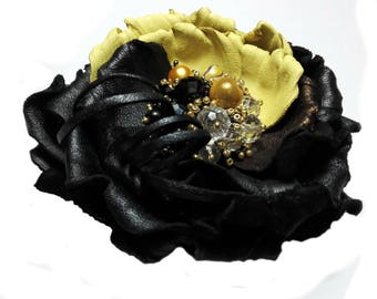 Black and yellow brooch Leather brooch Floral brooch Leather anniversary Leather corsage Leather flower pin Handmade brooch Floral jewelry