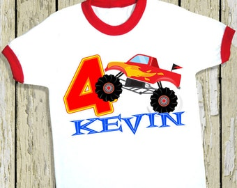 Monster Truck Birthday Shirt. Personalized Ringer Tee with Name & Number. 1st 2nd 3rd 4th 5th 6th 7th 8th 9th Birthday. (31715)