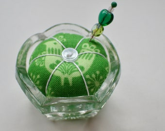 Salt Cellar Pincushion - Green Rooster Fabric - Saltcellar