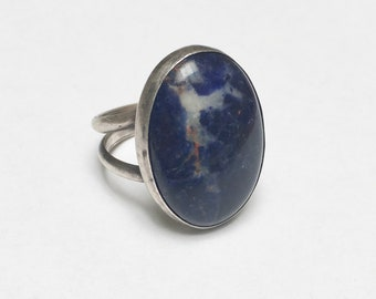 deep lapis lazuli and sterling ring, size 10.75