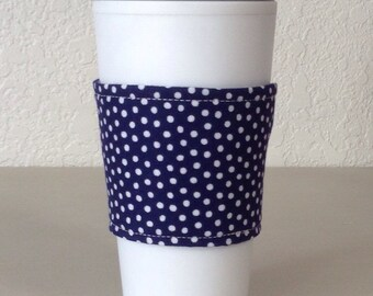 Coffee Cozy  - Blue w/White Polk A Dots  (0812)