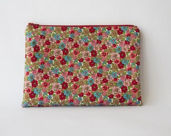 Clutch bag in red and blue floral printed cotton pouch or makeup