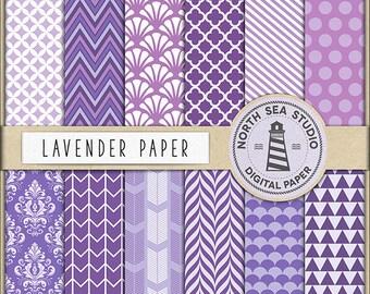 Lavender Digital Paper Pack | Scrapbook Paper | Printable Backgrounds | 12 JPG, 300dpi Files | BUY5FOR8