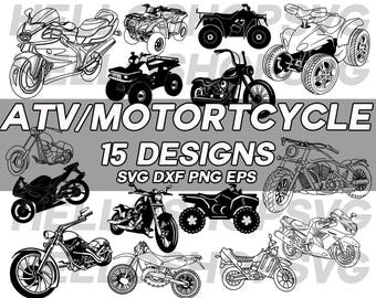motorcycle svg, ATV svg, motorcycle clipart, motorbike svg, bike svg, dirt bike, bike clipart, silhouette, cut file, stencil, iron on, vinyl