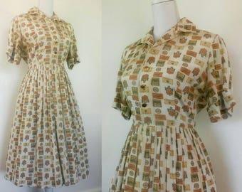 1950s Shirtwaist Dress novelty print summer dress wine tags A Carol Cook Fashion size M/L
