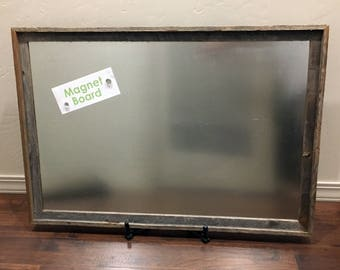 "24x36"" Steel Metal Magnet Board in Reclaimed Barnwood Frame - Rustic Bulletin Board"