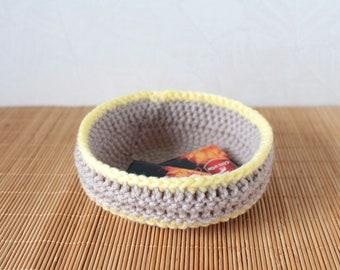 Storage Basket Crochet basket Storage bin Knit Basket Knitting gift Housewarming gift Yellow Easter decor home Easter gift for hostess gift