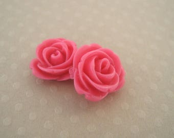 Set of 2 resin roses pink 13 mm - en-0163