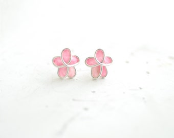 Pastel Pink Forget Me Not Flower Post Stud Earrings 1st Anniverary Gift Paper Jewelry Best Friend Long Distance Relationship Bridesmaid Gift