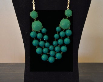 Turquoise Necklace, Bib Necklace, Blue, Statement Necklace, Chunky Necklace, Unique, Trendy, Faceted