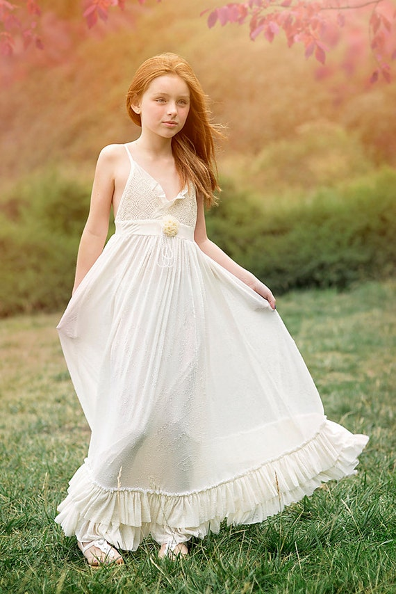 Floor Length Ivory Boho Flower Girl dressGirls Maxi Dress