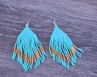 Long Blue and Gold Earrings