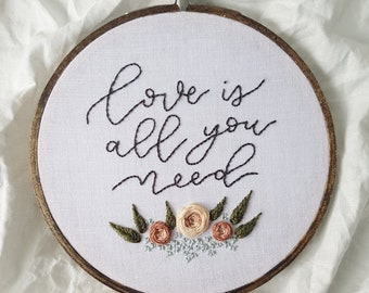 love is all you need embroidery with flowers wall hanging/home decor
