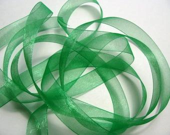 "3/8"" Organza Ribbon - Emerald Green - 25 or 50 yard spool"