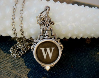 Typewriter Key Jewelry - Typewriter Necklace - Initial W - Typewriter Charm - Vintage Key