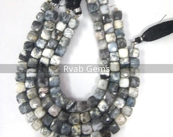 """1 Strands Natural Dendrite Opal faceted cube box shape,Dendrite Opal Faceted Box Beads   7-8mm 8 Inch"""" Long"""