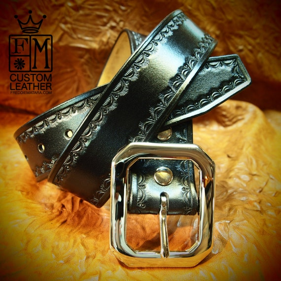 Leather Belt Hand Tooled Black Western/ Native border Custom made for YOU in New York City by Freddie Matara