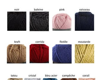 Bergère de France sport, 17 color choices, 51% wool worsted, 50 grams, 90 meters, ball of yarn