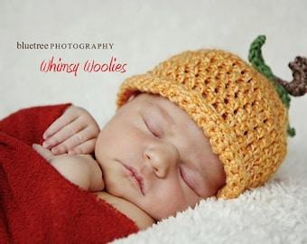 Crochet Hat Pattern: 'Pumpkin Head', Fall crochet, Halloween hat, 0-6mo, 9-12mo & toddler
