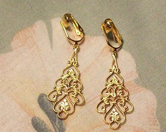 Clip on or Pierced Lightweight Gold Elegant Filigree Dangle Earrings