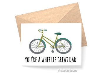 Wheelie Great Dad// Father's Day Card, Card for Dad ,Funny Fathers Day Card, Funny Card for dad, Father's Day Gift Idea