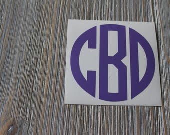 Circle Monogram Car Decal - Monogram Circle Car Decal - Monogram Car Decal - Monogram Decal - Car Decal - Monogram Decal - Circle Decal