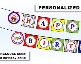 Planes Trains and Automobiles Happy Birthday Banner - Transportation Happy Birthday Banner - PERSONALIZED Printable - Car Truck Plane Train